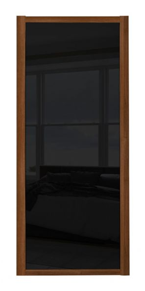 Shaker Sliding Wardrobe Door- WALNUT FRAME- BLACK GLASS  SINGLE PANEL